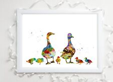 duck family gift glossy Print a4 paint splatter picture 6 unframed watercolour