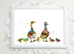 duck print family gift glossy  a4 paint splatter picture 6 unframed watercolour
