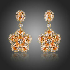 New 18K GOLD GP Made With SWAROVSKI ELEMENTS CRYSTAL EARRING Wedding Party 125