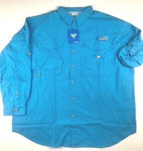 Columbia PFG Mens 2X Blue Bonehead Roll Up L/S Vented Button Fishing Shirt NWT