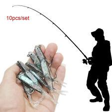 10Pcs 70mm Souple Silicone Leurres de Pêche Minnow Leurre Appât à Manivelle