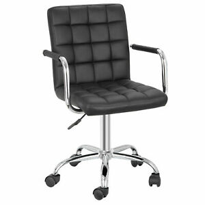 Office Chairs with Wheels Armrests Modern PU Leather Desk Chair 360°Swivel