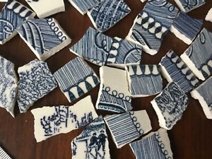 Broken China Mosaic Tiles DENIM BLUE & WHITE ~ 100+ Pieces Currier & Ives Set B