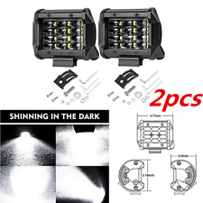 2PCS 4 inch 72W 12 LED Bar Flood Work Light Off-road Running Fog Lamp Car Boat