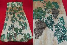 Antique Silver Grape Vine Leaf Silk Damask Brocade Dress Fabric Fragment Remnant