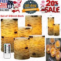 Pandaing Set of 5 Pillar Birch Bark Effect Flameless LED Candles with 10-Key Rem