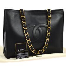 Auth CHANEL Jumbo XL CC Logos Chain Shoulder Tote Bag Black Leather VTG AK13931