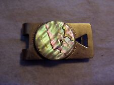 VINTAGE 925 STERLING SILVER SIGNED MAP MADE IN MEXICO MONEY CLIP WITH ABALONE