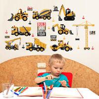 construction vehicles wall stickers decals backhoe excavator bulldozer truck   X
