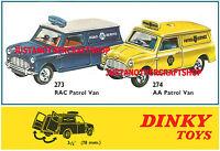 Dinky Toys 273 & 274 Mini Van RAC & AA Patrol A3 size Poster Advert Leaflet Sign