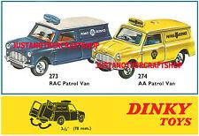 Dinky Toys Mini Van RAC & AA Patrol 273 274 Large Poster Advert Leaflet Sign