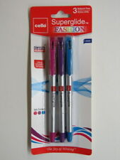 3 New CELLO Ballpoint Ink PENS ~ Smooth Grip, Easy Flow Writing ~ 2 Colors