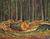 Carl WALTHER (1880-1956), Gefällte Bäume im Wald, 1936, Aquarell