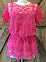 YOANA BARASCHI Anthropologie Sz S Hot Pink Sheer Lace Embroidered Cami Top Set