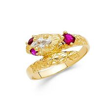 Gold Serpent Band Curve Red Cz Fashion Fancy Snake Ring Solid 14k White Yellow