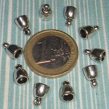 65 Terminales Para Cuero/Cordón 9x6mm  T351C  Plata Tibetana End Caps Perline