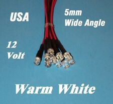 10 x LED - 5mm PRE WIRED 12 VOLT WIDE VIEW WARM WHITE flat top
