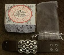 Brown Leather Cuff Bracelet Nib Plunder Jewelry Jesse Rhinestone