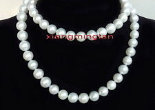 "LONG AAAAA 36"" 9-10mm NATURAL perfect round south sea white pearl necklace 14K"