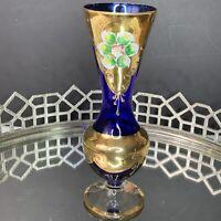 Bohemian Czech Moser Vase Blue Enamel Victorian Style Footed Vintage #EL8