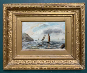 Antique Nautical Victorian Oil On Board Painting In Gold Gilt Frame, Signed