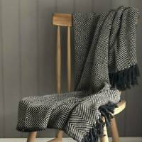 Eightmood Charcoal Black & Cream Chevron Throw Herringbone Design. 150x130cm