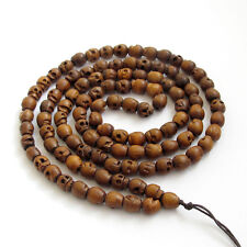 Tibetan Buddhist 108 Jujube Wood Skull Prayer Beads Mala Necklace