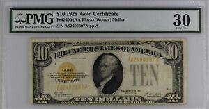 ⭐GOLD CERTIFICATE⭐ 1928 $10 Ten Dollars Bill Note FR-2400 ~ PMG 30