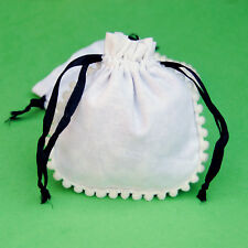 10 PCS Black Drawstring White Jewelry Pouch Cotton Gift Bags Small Bag 3x3""