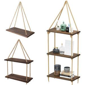 Wooden Rustic Hanging Rope Shelf - Handmade Solid Natural Wood Floating Shelves