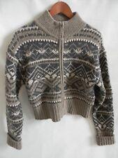 Womens American Eagle 100% Shetland Wool Full Zipper Heavy Sweater Size L