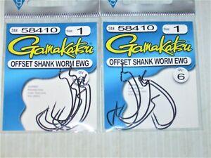 gamakatsu size 1 offset ewg shank worm small senko tube hook 6 pr pack 58410