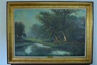 Grand Tableau ancien Impressionniste paysage brume Lande Parc écosse Meiresonne