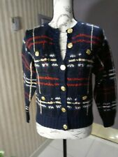 Handcrafted Knit MohairJacket Blouse Blue. Red, gold buttons, NEW w/o tags, S/M
