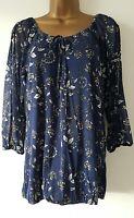 Ex M&Co Size 10-22 Cold Shoulder Navy Blue White Floral Print Tunic Top Blouse
