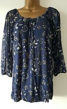 Ex M&Co Size 10-22 Cold Shoulder Navy Blue White Floral Print Tunic Top Blouse