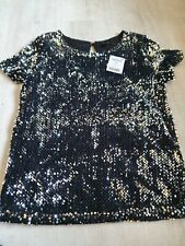 Womens next Black And Silver Sequin Top Bnwt Size Uk 6