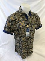 Mens SUSLO COUTURE Designer Shirt SHORT SLEEVE SLIM FIT NAVY GOLD PAISLEY 40163