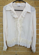 Women's NEXT Petite Semi Sheer Blouse Size 14 Frills and Lace Embellishments