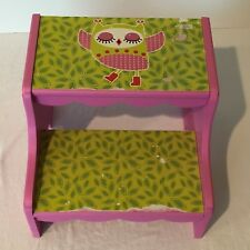 Ashland Wooden Step Stool Kids Bathroom Childrens Character Pink Owl