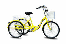 "Trike Bike Adult Tricycle 24"" Aluminium 3 Wheeled - 6 Gears & Baskets - YELLOW"