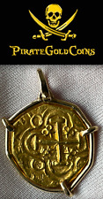 """1715 FLEET ESCUDOS 1714 DATED SHIPWRECK"""" PENDANT PIRATE GOLD COINS JEWELRY"""