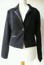 Ladies EDM JACKET tailored leather look lapels bolero style lined UK10 NWT