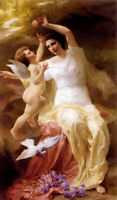 Oil painting theophile blanchard - venus and cupid angel beauty birds flowers