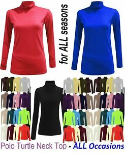 Womens ladies long sleeves polo turtle neck stretch top jumper sizes 6-26 ^poLo