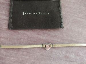 Jeanine Payer Gold Leather Sterling Silver Heart Bracelet with Pouch