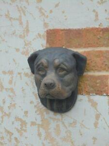 Rottweiller dog head wall plaque concrete garden ornament