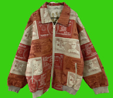 AL WISSAM World Currency Money Red White Patchwork Leather Jacket Size 56 Rare!