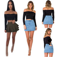 New Fashion Sexy Womens Off Shoulder Crop Tops Jumper Tops Blouses Vest T-Shirt