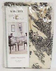 "Waverly Garden Room Toile de Jouy 70"" Round Tablecloth Cream & Black NIP"